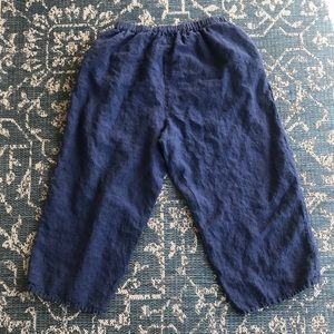 Flax High Rise Crop Navy Linen Pants with Pockets